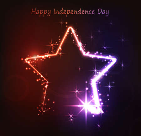 red light district: Neon star on the dark background for independence day USA