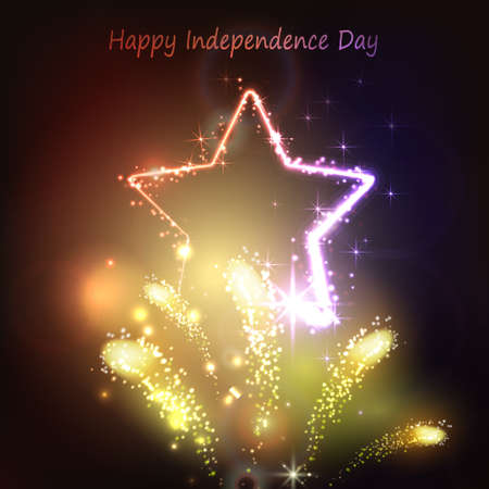 Neon star on the dark background for independence day USA