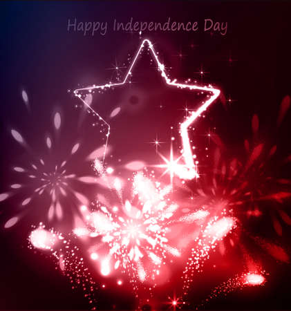 Neon star on the dark background for independence day USA with fireworks