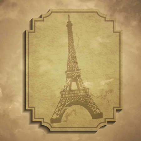 Paris in vintage style poster, vector illustration grange tag