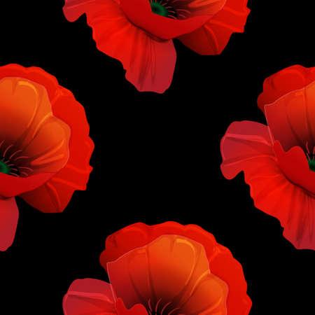 Poppy seamless pattern on black background red