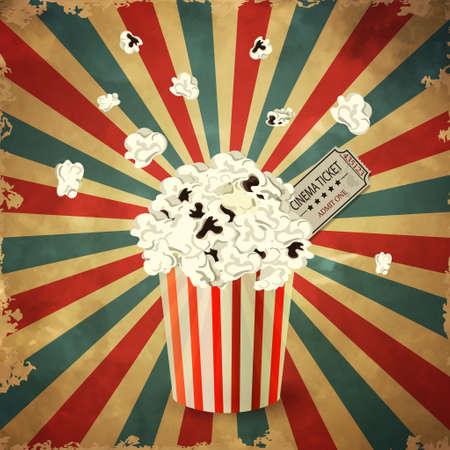 grange: vector illustration of Popcorn box on grange old background