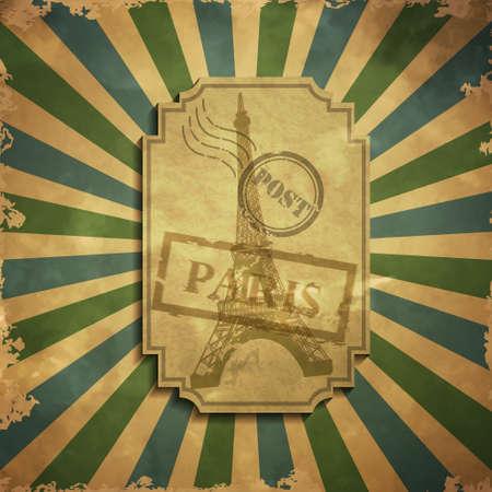 grange: Paris in vintage style poster, vector illustration grange background
