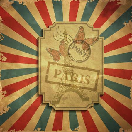 grange: Paris in vintage style poster with butterfly, vector illustration grange background Illustration
