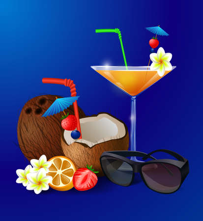 freshens: Exotic cocktails isolated on a blue background with fruit coconut and sunglasses