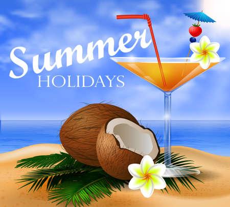 orange juice glass: Coconut tropical nut fruit with cut vector illustration on a beach background with tropical palm leaves and an orange juice glass