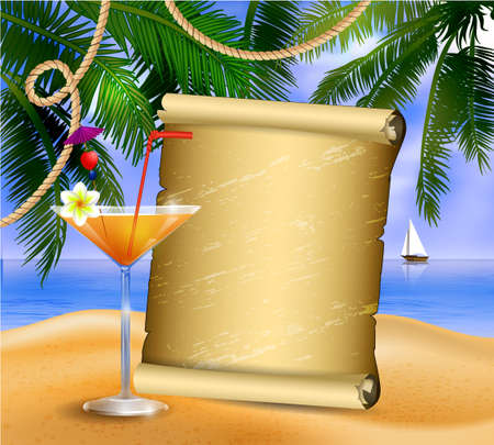 rope way: old paper for your desighn on tropical background and exotic cocktail