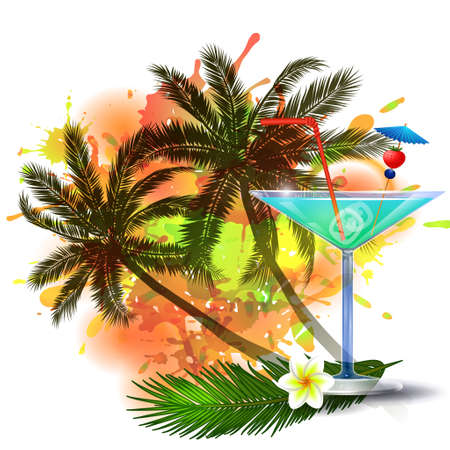 inkblot: Summer background with palm trees and cocktail glass on abstract inkblot splash with straw and flower