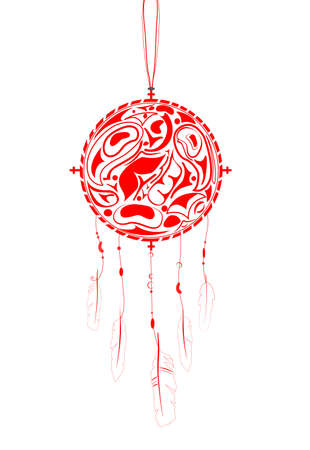 medicine wheel: Dream Catcher with indigenous pattern and ornament