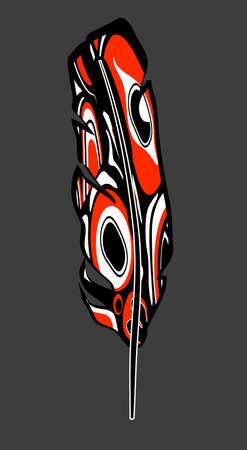 inheemse Amerikaanse veer in rood met inheemse patronen Stock Illustratie