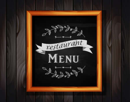 Menu on Chalkboard background with hand drawn ornament for restaurant in wooden frame on wooden background