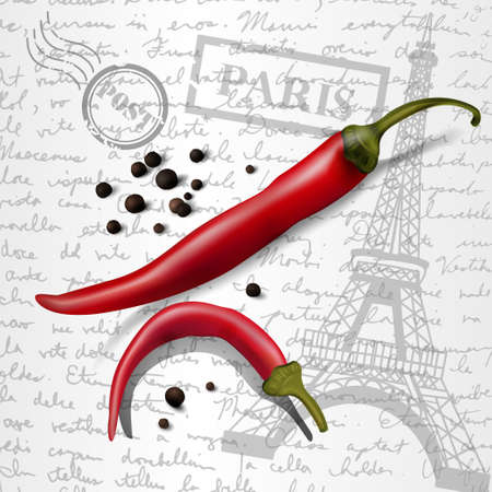 chilly: table top with sketching paper on hand-drawn writing background with eiffel tower red and black pepper chilly