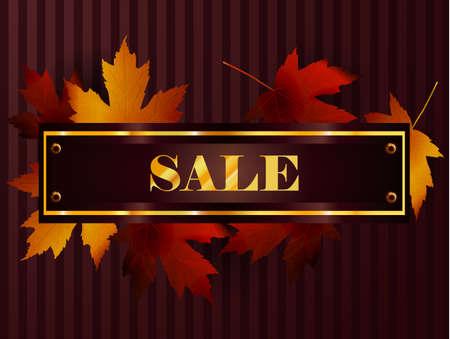 seasonal: Sale signs with beautiful autumn maple leaves for seasonal sales