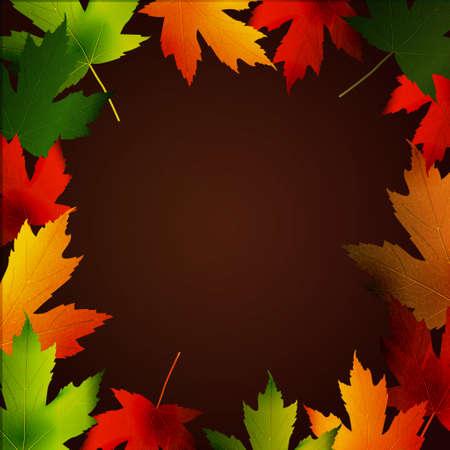 fallen: Clip-art frame from fallen leaves isolated ondark background Illustration