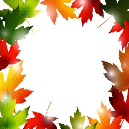 fallen: Clip-art frame from fallen leaves isolated on white