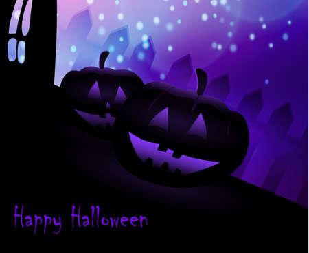 blue moon: Halloween pumpkins on blue Moon background, illustration.