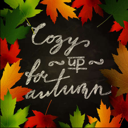 cozy: Frame of autumn leaves painted on black chalkboard. Sketch, design elements with Cozy up for autumn handwritten words. Vector illustration.