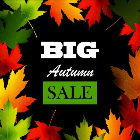 seasonal: Maple leaf frame for seasonal sales on white Illustration