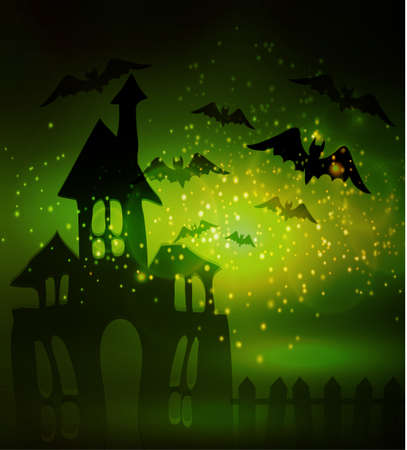 Halloween haunted house with bats and fence