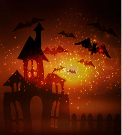 Halloween haunted house with bats and fence Çizim