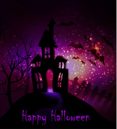 Halloween haunted house with bats and fence and trees Çizim