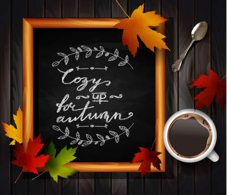 teaspoon: Chalkboard with autumn leaves and cup of coffee and tea spoon
