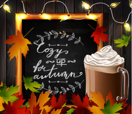 hot chocolate: Chalkboard with autumn leaves and cup Hot chocolate and cozy lights and falling leaves Illustration