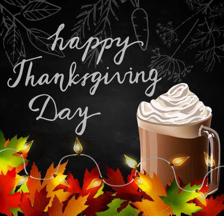 Chalkboard avec des feuilles d'automne et tasse de chocolat chaud Banque d'images - 62127412