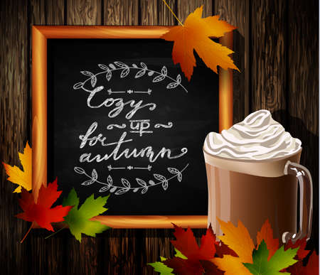 hot chocolate: Chalkboard with autumn leaves and cup Hot chocolate