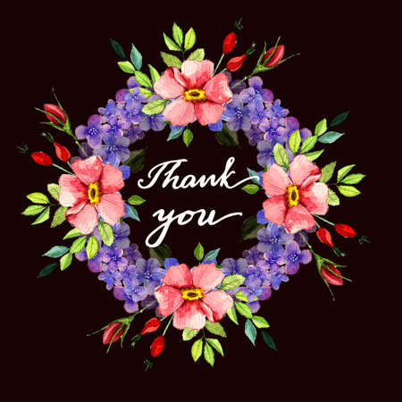 Watercolor flower roses wreath Vector illustration isolated Thank you greeting card with lettering