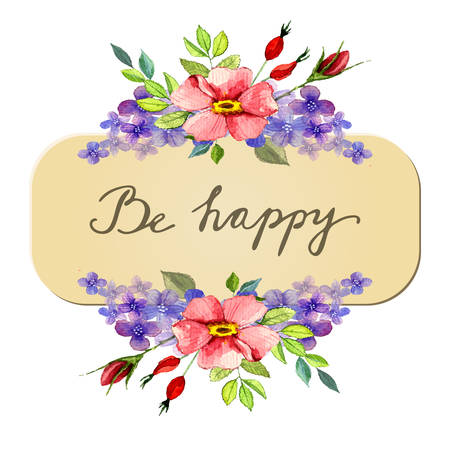 Watercolor flower roses wreath Vector illustration isolated Be happy greeting card with lettering