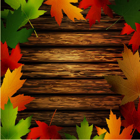 Wooden wall with autumn leaves frame and falling leaves vector illustration Vectores