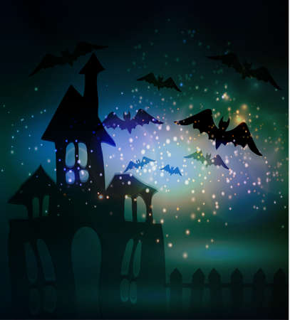 Halloween haunted house with bats and fence Stock Illustratie