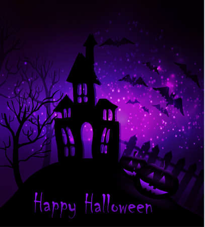 Halloween haunted house with bats and fence and trees and two pumpkins Stock Illustratie