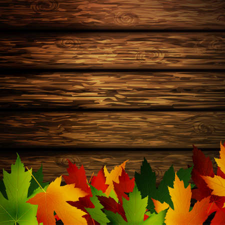 Wooden wall with autumn leaves and falling leaves vector illustration