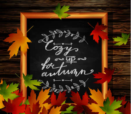 falling leaves: Chalkboard with autumn leaves and falling leaves Illustration