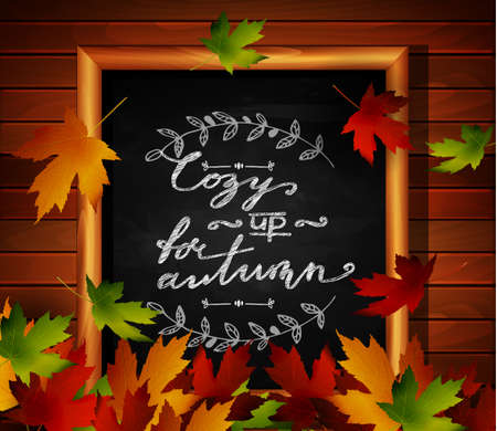 rural area: Chalkboard with autumn leaves and falling leaves Illustration