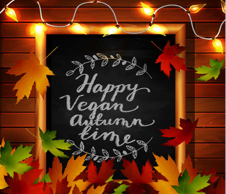 cozy: Chalkboard with autumn leaves a cozy lights and falling leaves