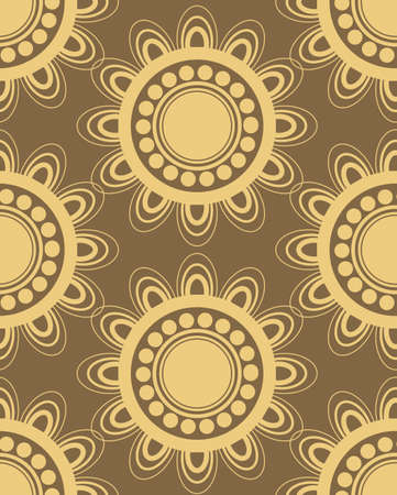 Seamless pattern in brown and yellow colors perfect for gift papers and fabrics Illustration