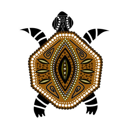 Yellow-brawn turtle in first-nation style isolated on white