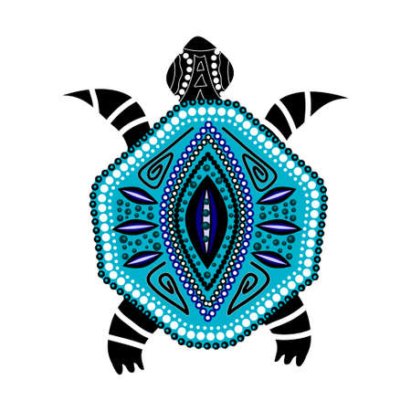 Blue turtle in first-nation style isolated on white