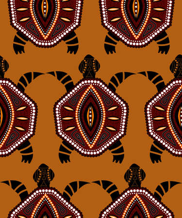indigenous: Seamless pattern with turtles in indigenous style Vector in yellow