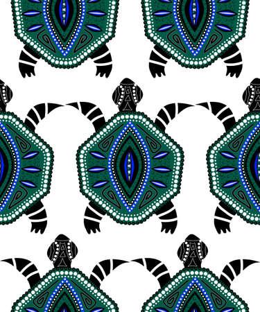 Seamless pattern of blue turtles on white in aboriginal style Stock Illustratie