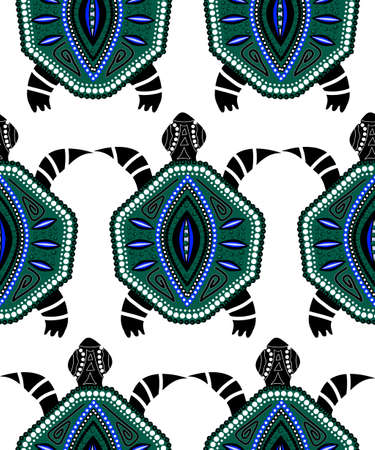 Seamless pattern of blue turtles on white in aboriginal style Çizim
