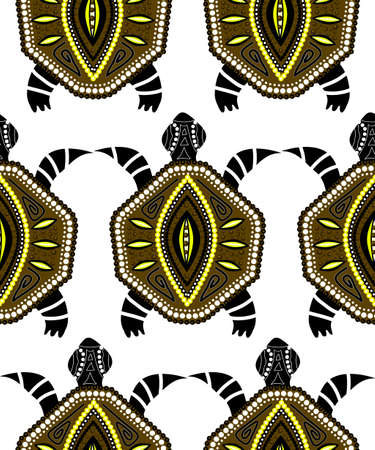 indigenous: Seamless pattern with turtles in indigenous style Vector Illustration