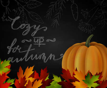Chalkboard with autumn leaves and orange pumpkin