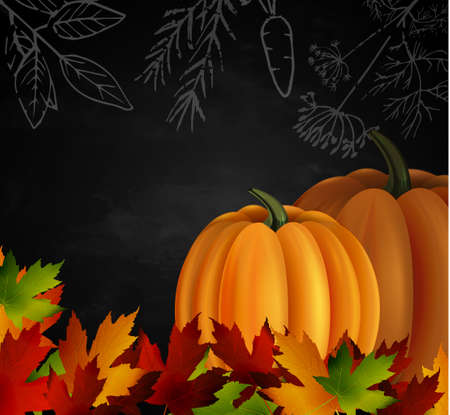 Chalkboard with autumn leaves and two orange pumpkins. Could be used for your Thanksgiving greetings Иллюстрация