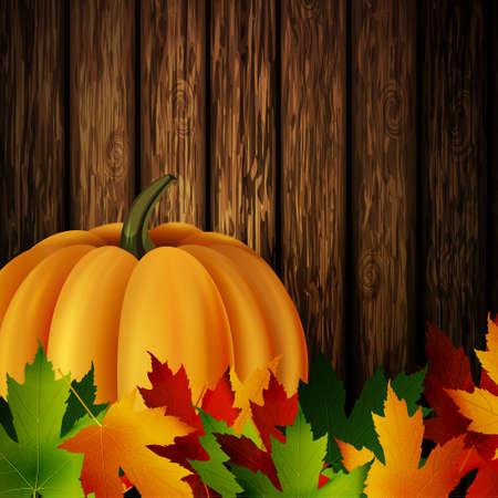 could: autumn leaves and orange pumpkin on wooden texture. Could be used for your Thanksgiving greetings