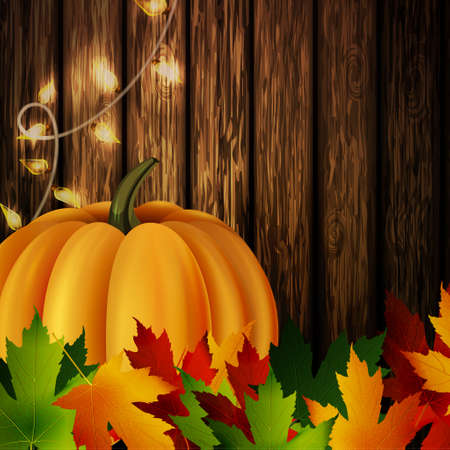 autumn leaves and orange pumpkin with patio lights on wooden texture. Could be used for your Thanksgiving greetings Çizim