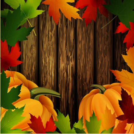 could: autumn leaves frame and two orange pumpkins on wooden texture. Could be used for your Thanksgiving greetings